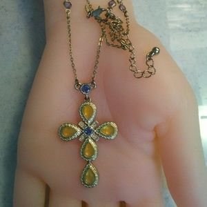 Avon Jewelry - Vintage Citrine & Amethyst Cross Necklace